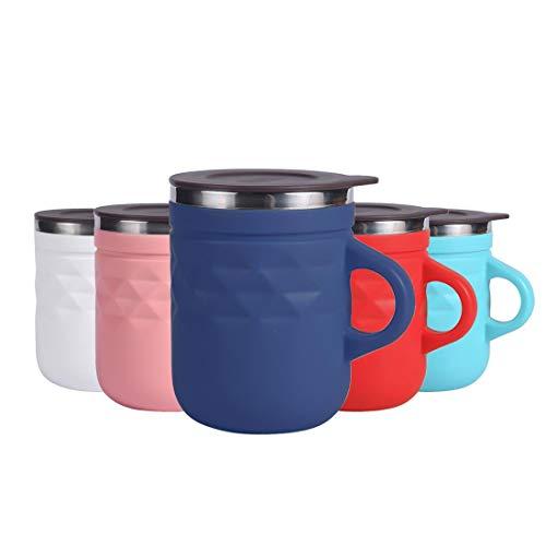Tasse à Café Isotherme, Mug transportable avec Poignée et Couvercle, en Acier Inoxydable, Gobelet de Voyage, sans BPA 400ml - Violet foncé Losange