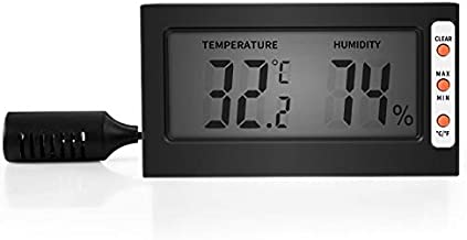 Simple Deluxe Digital Thermometer and Hygrometer with Humidity Probe for Reptile Tank/Egg Incubator Easy to Read, Thermo&Hygro Meter, 1, Black