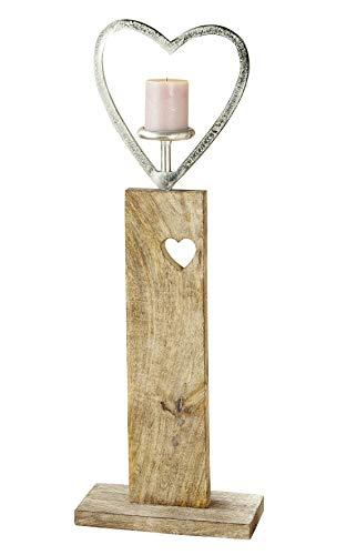 GILDE Herzleuchter auf Holzbase aus Mangoholz Silber, Natur Länge 28,0 cm Breite 13,0 cm Höhe 80,0 cm 48827