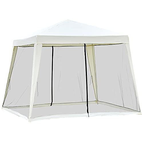 Outsunny 10' x 10' Folding Slant Leg Screened Sun Shelter Canopy Tent with Mesh Sidewalls - Beige