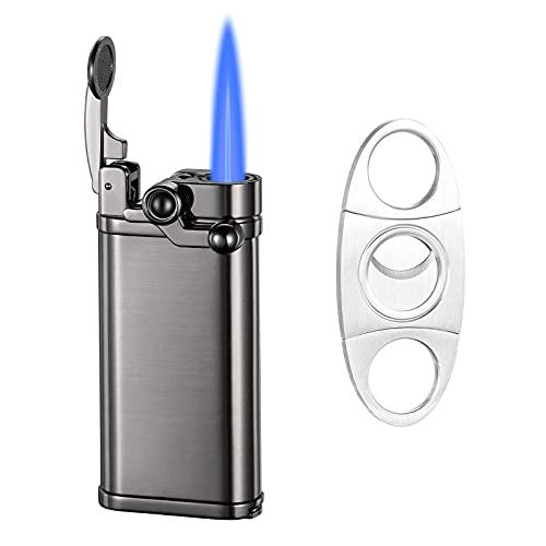 Boonfire Torch Lighters, Cigar Lighter, Cigar Cutter and Lighter Set, Jet Flame Refillable Butane Lighter with Cigar Punch, Charcoal Lighter, Gifts for Men- Sold Without Butane