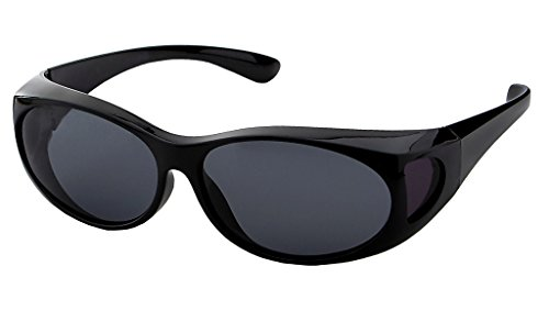 LensCovers Wear Over Sunglasses Small Black with Smoke Lens - Fit Over Style