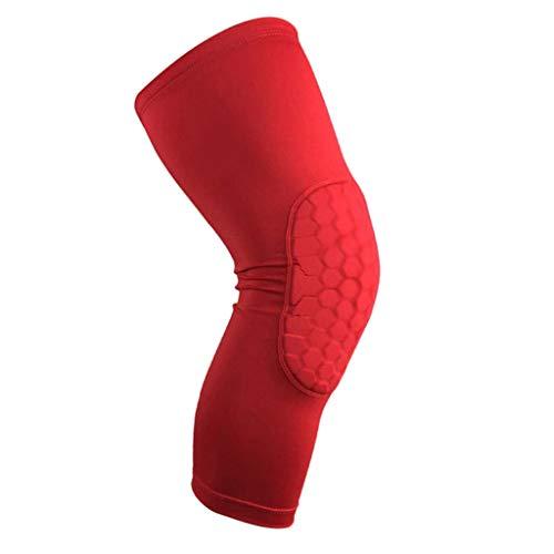 TIREOW Basketball Knieschützer Knie Kissen Knieschoner Knieschützer Kniepolster Beinlinge Schutz Ausrüstung Absturzsicherer Für Snowboarden Skateboarden Fitness (L, Rot)