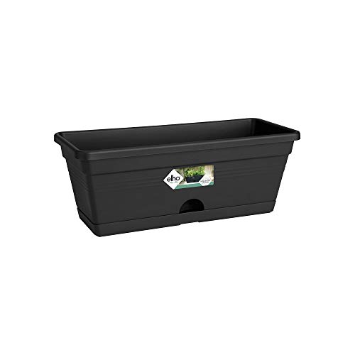 Elho Green Basics Balk Mini Allin1 30 - Übertopf - Lebhaft Schwarz - Draußen & Balkon - L 30.2 x W 19.5 x H 15.6 cm
