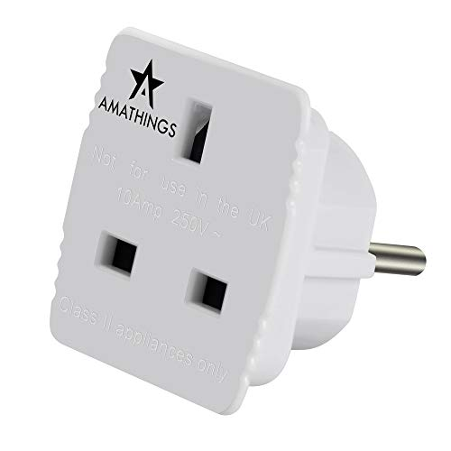 AMATHINGS Reisestecker-Adapter UK-Deutschland In Weiss