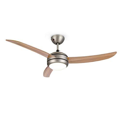 KLARSTEIN El Paso - Ventilatore da Soffitto, 2in1: Ventilatore e Lampadario, Diametro: 52' (132 cm), 3 Pale, Flusso: 10.344 m³/h, 3 velocità, Effetto Rovere