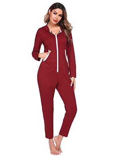 Ekouaer Christmas Onesies Thermal Underwears One Piece Jumpsuit Pajamas Union (B-Red, Small)