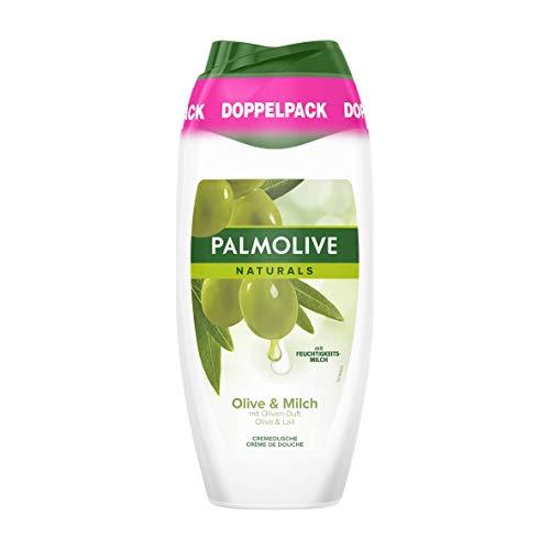 Palmolive Duschgel Naturals Olive & Milch, Doppelpack (2 x 250 ml) - Cremiges und sanftes Duschgel für weiche Haut, geeignet für jeden Hauttyp