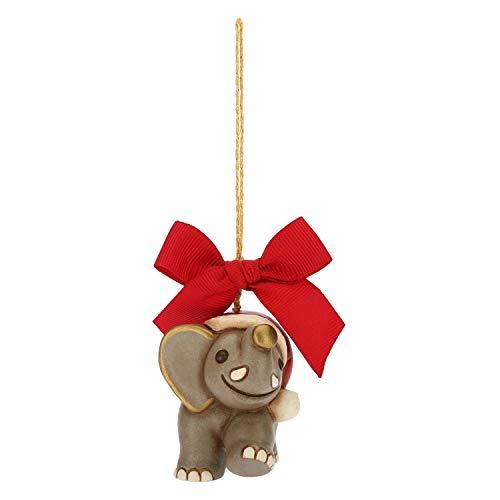 THUN® - Mini Elefante da Appendere - Addobbo Natalizio per Albero con Fiocco Rosso - Ceramica - I Classici