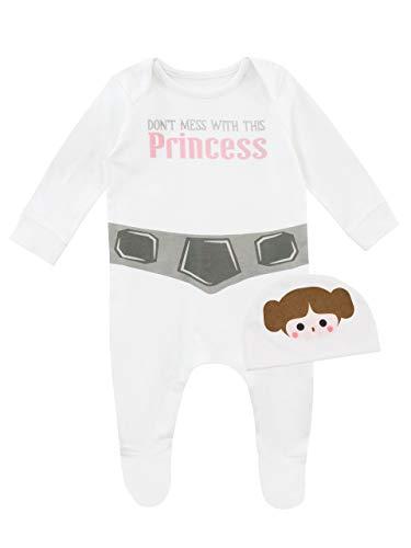 Star Wars Pijama Entera con Gorro para Niñas Bebés Princesa Leia Blanco 0-3 Meses