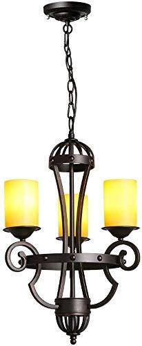 3-Köpfe American Classical Garden Schmiedeeisen Antiker Kerzenhalter Kronleuchter Kerze Retro Deckenleuchte Glas Lampenschirm, Schlafzimmer Esszimmer Dekoration Hängelampe 27 Edison