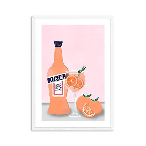 Vino Cocina Póster Impresión Champagne Cóctel Bebida Impresión en lienzo Arte de la pared Pintura Imagen Comedor Restaurante Bar Decoración-20x28 pulgadas Sin marco