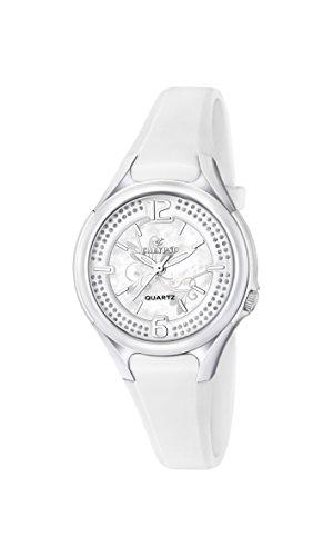 Calypso–Reloj de Cuarzo para Mujer con Correa de plástico de Plata Esfera analógica Pantalla y Blanco k5575/1