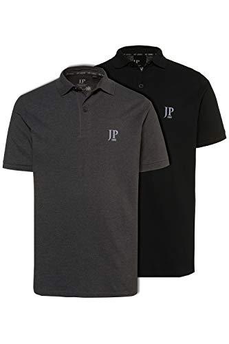 JP 1880 Herren große Größen bis 7XL, Poloshirts, 2er-Pack, Piqué, Seitenschlitze, Regular Fit, anthrazit-melange, schwarz 4XL 704317 11-4XL