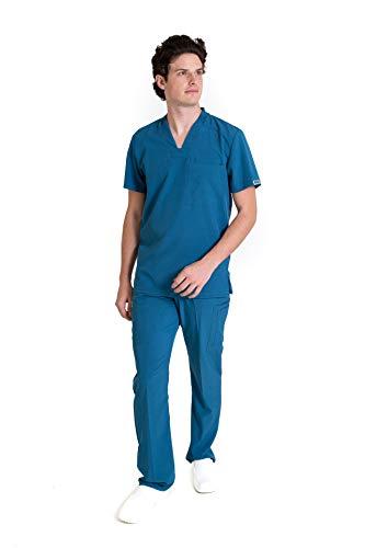 EA-02 CONJUNTO REPELENTE A FLUIDOS TELA STRETCH FLEX-DRY-DYNAMIC Conjunto de Uniforme Médico para Caballero - Traje Completo Filipina y Pantalón Médico - Quirúrgico para Doctores - Conjunto Quirúrgico para Hombre - Scrub y Pant HASSAN UNIFORMES (CARIBE, CH)