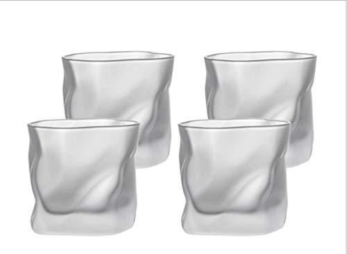 LJCF Vidrio hecho a mano de estilo japonés creativo heterosexual vaso de whisky, vino blanco, licores, vino de fruta, vaso de cerveza, vaso de agua simple taza de té casera de cuatro paquetes (helado)