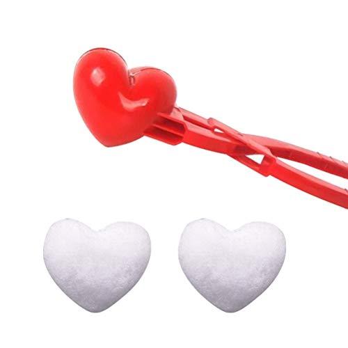 Knowooh Schneeballmacher Schneeball Zange Profi Schneeballzangen Schneespielzeug Spaß für alle in der Familie, um perfekte Schneebälle zu Machen(Herz,2pcs)