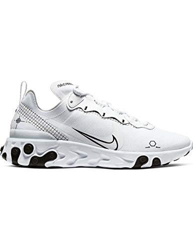 Nike React Element 55, Zapatillas para Correr para Hombre, White/Black, 42.5 EU
