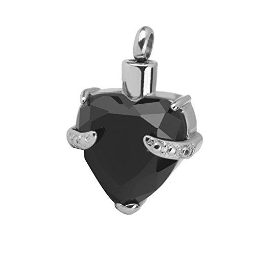 Cremación Corazón Cenizas Joyería Colgante De Collar De Recuerdo Urna De Cristal Negro