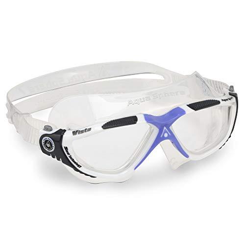 Aqua Sphere Vista Máscara de natación, Unisex Adulto, Lente Blanco y Lila/Transparente, Talla única