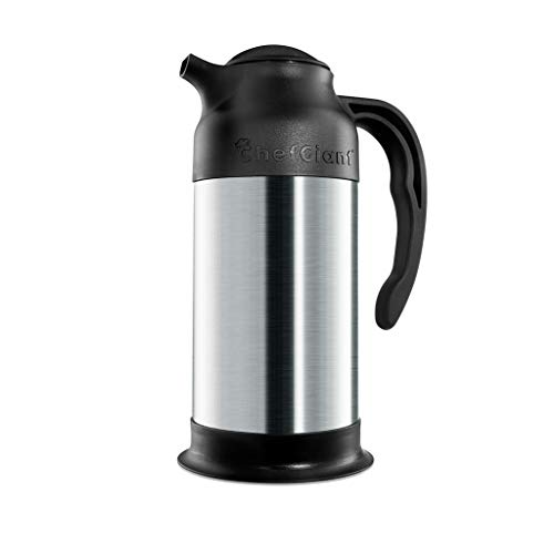 Stainless Steel Thermal Coffee Carafe Thermos|Insulated Hot & Cold Beverage Pitcher Dispenser w/ Milk Server |24 OZ. 3 CUP Small Design for Easy Handle & Travel |