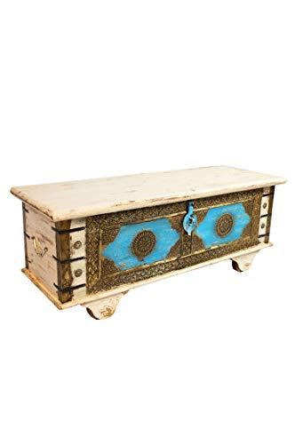 Orientalische Truhe Kiste aus Holz Murali 115cm groß in Weiß | Vintage Sitzbank mit Aufbewahrung für den Flur | Aufbewahrungsbox mit Deckel im Bad | Betttruhe als Kissenbox oder Deko im Schlafzimmer - 4