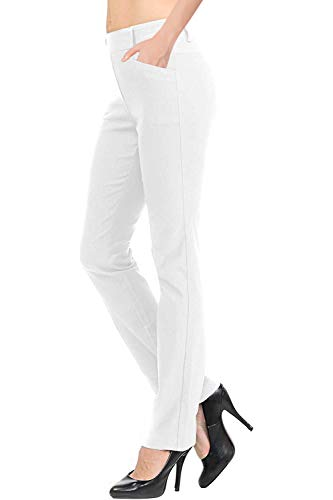 VIV Collection New Straight Fit Long Trouser Pants (Medium - 30' Inseam, White)