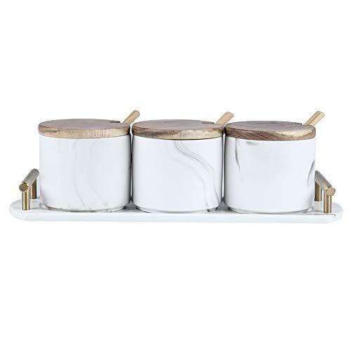 Almacenamiento conveniente y práctico de los frascos de especias Tarro de condimento redondo Estilo europeo Simple Cerámica Condimado Caja Dispensador Contenedor de sal Suministros de cocina Artículos