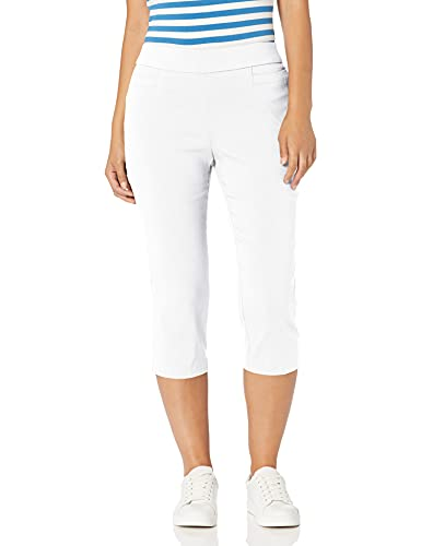 Briggs New York Womens Pull On Capri L Pocket, White, 12