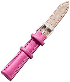Songlin@yuan Simple and Stylish Watch with Silver Buckle Leather Strap, Width: 14 mm Fashion (Color : Magenta)