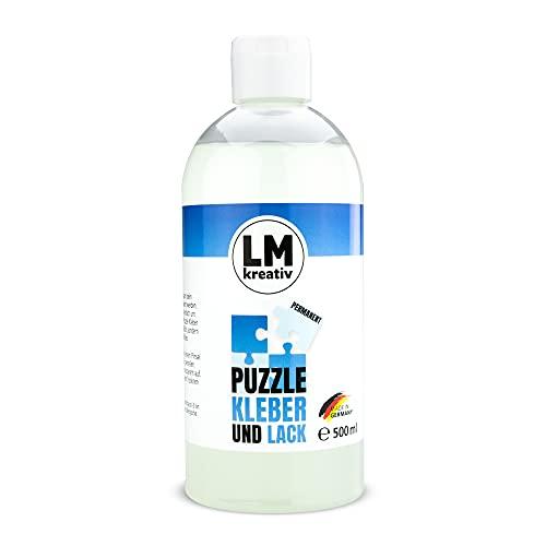 LM Puzzle Kleber & Lack 500 ml - Transparent - Idealer Puzzlekleber/Conserver zum Teile verkleben von goßen & Kleinen Puzzles. Der Fixierer kann mit einem Schwamm oder Pinsel aufgetragen Werden