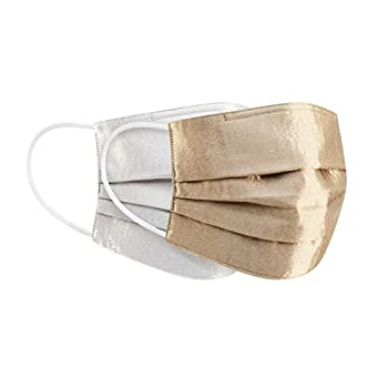 Pack of 2 Pleated Design Fabric Face Masks Water Repellent Adjustable Nose Wire Medium Size SILKY METALLIC SATIN  GOLD & WHITE SILVER