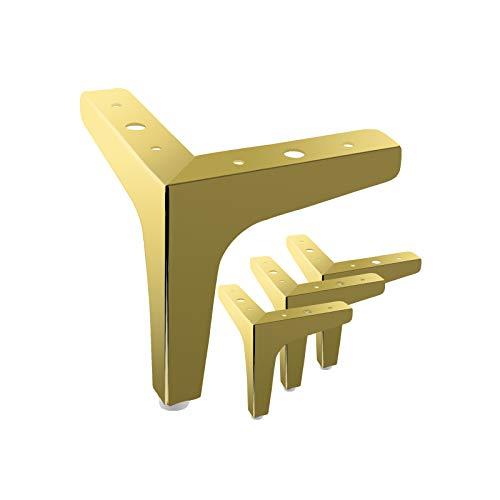 MOROBOR 4 dreieckige Möbelbeine, 10 cm, modern, Metall, verchromt, Sofa-Beine für Schrank, Tisch, Schrank, Couch, Sofa (Gold)