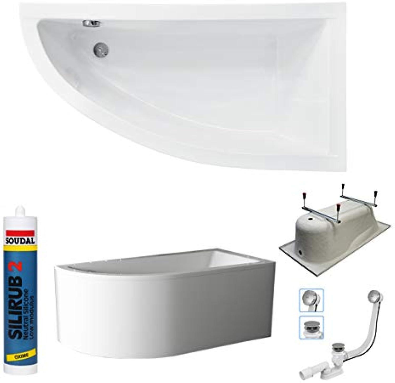 Badewanne LANIS 150 x 70 cm Seite Rechts mit Schürze + Ablaufgarnitur