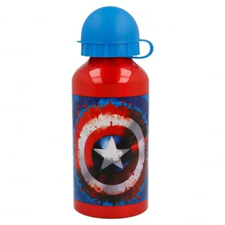 Borraccia Bottiglia in Alluminio per Bambini 400ml con beccuccio retraibile (Capitan America Marvel Supereroi)