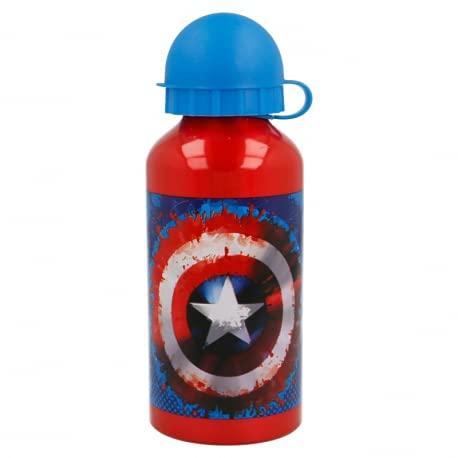 Borraccia termica Bottiglia in Alluminio per Bambini 400ml con beccuccio retraibile (Capitan America Avengers Supereroi)