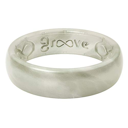 Groove Life Silicone Wedding Ring for Women - Breathable Rubber Rings for Women, Lifetime Coverage, Unique Design, Comfort Fit Womens Ring - Thin Metallic Pearl Size 7
