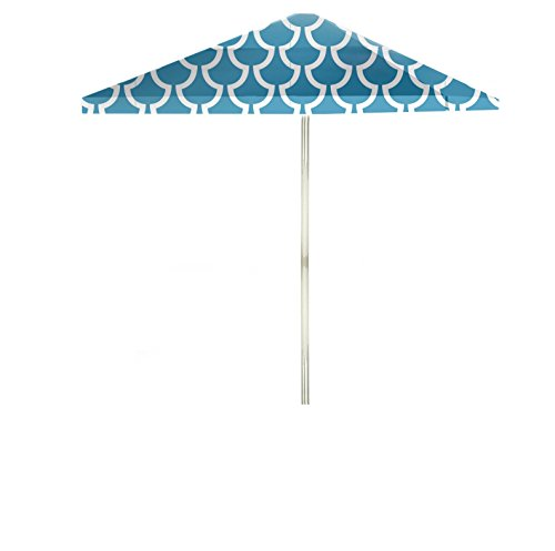 Best of Times 1020W2104 Fun with Fins Durable 8 ft Square Market Umbrella, Water Resistant, UV Protected, Interchangeable Fabric Cover, One Size, Ocean Blue