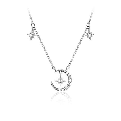 SMEJS - Gargantilla con estrella y luna, moda, collares de cadena corta, joyería, mejor amiga, novia, cumpleaños, aniversario, boda, novia, regalo de joyería, plata