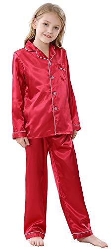 Joytton Pijama de satén para niños, Pijama de Manga Larga con Botones - Rojo - 150 cm (Altura 130/140 cm / 28.5/34 kg (8-9 años))