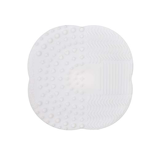 Dolovemk Makeup Brush Silicone Cleaning Pad Cosmetic Brushes Cleansing Mat Pad Washing Scrubber Board, 28g, 10cm/3.93inchs (White)