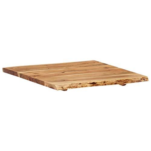 Tidyard Wooden Table Top, Rectangular Dining Table Solid Acacia Wood 60x60x2.5 cm