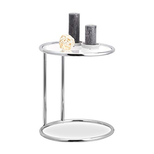 Relaxdays, zilveren ronde bijzettafel, metalen frame, glasplaat, woonkamertafel, decoratie, designer tafel, h x d 53 x 45 cm, standaard