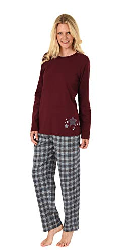 NORMANN-Wäschefabrik Damen Flanell Pyjama Mix & Match - Oberteil mit Sterne Motiv - auch in Übergrößen, 281 201 90 994, Farbe:rot, Größe2:52/54