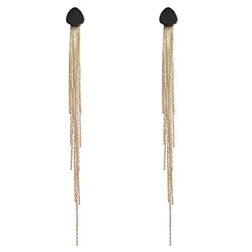 ASR Forma geométrica borla línea de las orejas. Accesorios para fiestas, bodas, aniversarios, compromisos, reuniones, citas, banquetes. Pendientes de 13 cm de largo.