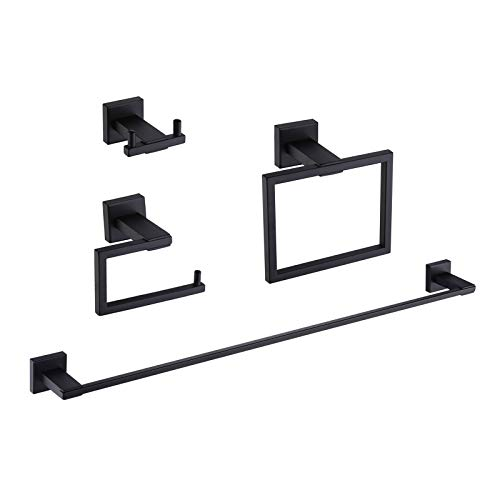 KES Black Bathroom Hardware Set 4-Piece Toilet Paper Holder 24-Inch Towel Bar Coat Hook Towel Ring SUS304 Stainless Steel Wall Mount, LA24BK-42
