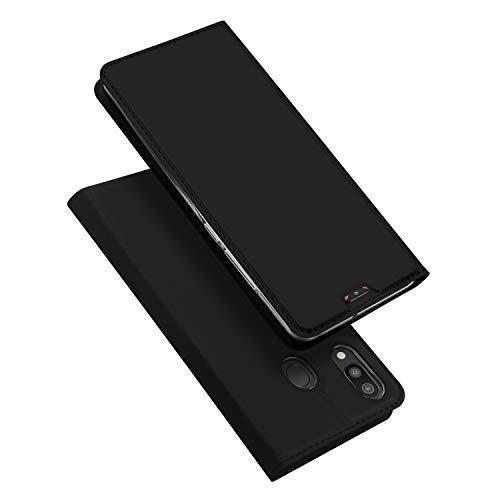DUX DUCIS Hülle für Samsung Galaxy M20, Leder Flip Handyhülle Schutzhülle Tasche Hülle mit [Kartenfach] [Standfunktion] [Magnetverschluss] für Samsung Galaxy M20 (Schwarz)