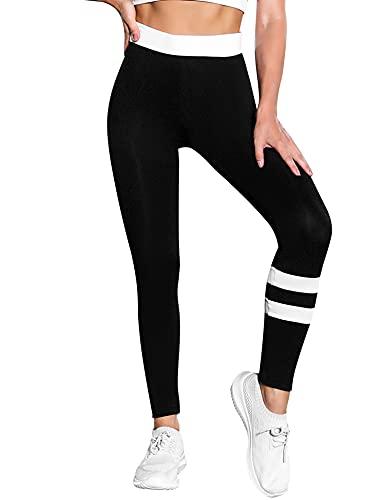 Wayleb Leggings Mujer Mallas Verano Yoga Pants Leggins Deporte Pantalones Deportivos Cintura Alta Suaves Elásticos Transpirables Fitness Pilates,Negro + Blanco,XXL