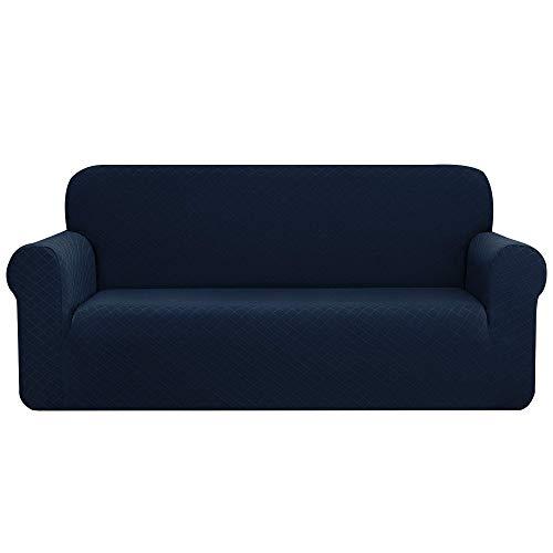 CHUN YI 1 Stück Rhombus Sofabezug Stretch Stoff Sofabezug Möbelschutz für Oversize Sofa 4 Sitzer Sofa Schonbezug für Wohnzimmer (XL Sofa, dunkelblau)