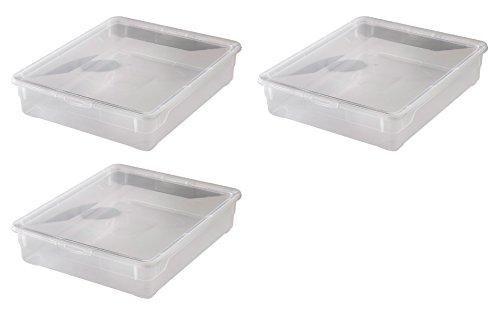 """3x Aufbewahrungsboxen """"Clear Box"""" mit 9 Litern, 40,0 x 33,5 x 8,5 cm - transparent - stapelbar - Kunststoff/Plastik"""